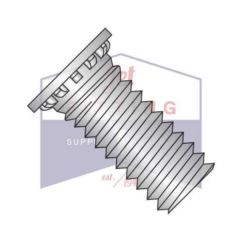 6-32X1 Self Clinching Studs | Flush Head | Improved Design with Annular Groove and 12 Ribs | 303 Stainless Steel | Heat Treat Zinc and Bake (QUANTITY: 10000) by Jet Fitting & Supply Corp