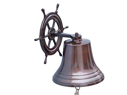 Hampton Nautical Hanging Ship Wheel Bell, 8