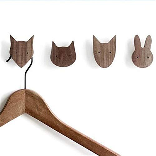 SOMITI   Hooks & Rails   Cute Wooden Animal Hooks Kids Room Hat Hanger Wall Garden Ornament Hangers Photography Props Home Decor Coat Hooks ()