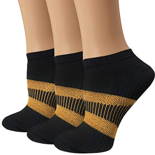 Copper Athletic Compression Socks For Men&Women-Anti bacterial Ankle Sport Socks (Black 1, L/XL)