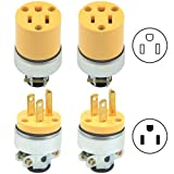 WMYCONGCONG 4 PCS Heavy Duty 3-Prong Male Female Electrical Plug Replacement 125V 15A (U44-Set)