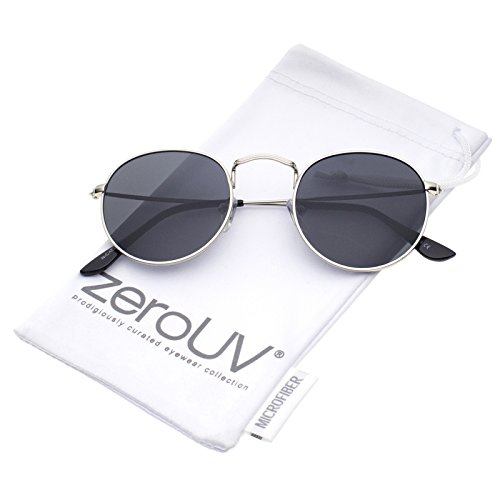zeroUV - Classic Full Metal Frame Slim Temple Round Sunglasses 45mm (Silver / - Sunglasses 1960