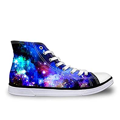 LedBack High Top Galaxy Printing Canvas Shoes for Women Causal Sneakers Teenagers Girls Lightweight 3D Trainers Size 5-11 Blue Size: 8.5