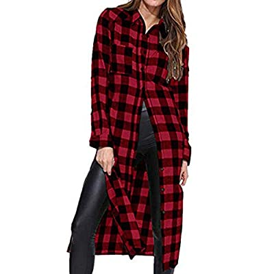 Franterd Women Plaid Shirt Womens Blouses Buffalo Check Collar Neck Button Down Long Shirts for Jeans Legging