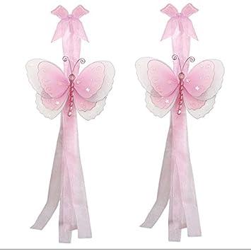 Amazon.com: Butterfly Curtain Tiebacks Pink Multi-Layered Nylon ...