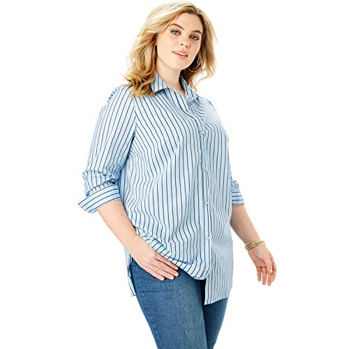 Roamans Women's Plus Size Kate Tunic - Blue White Stripe, 20 W ()