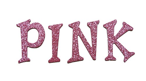 Pink Metallic Glitter HandCut 1.5'' Chipboard Uppercase Letters Alphabet set 60 pcs Stickers Fun Serif by Agsense