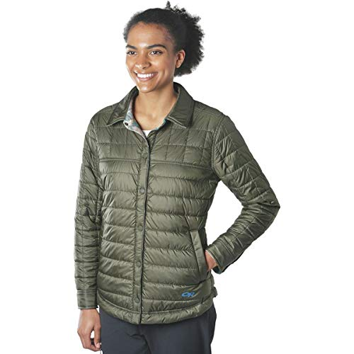 (Outdoor Research Women's Kalaloch Reversible Shirt Jacket Peacock Plaid Large)