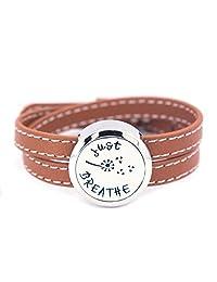 Mesinya Brown Genuine Leather 1'' Just Breathe Bracelet / 316L S.Steel Essential Oils Diffuser Locket Bangle 6''-7''wrist