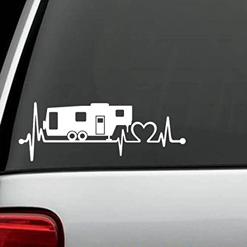 Fifth Wheel Camper - Bluegrass Decals K1151 5th Fifth Wheel Camper Travel Trailer Heartbeat Lifeline 8 Inch Decal Sticker