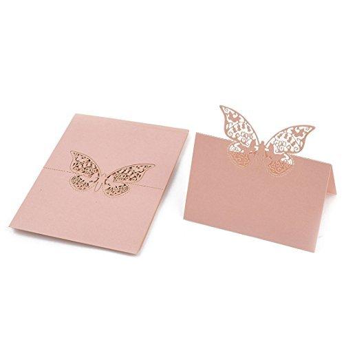 Papel de boda del Modelo ahueca hacia fuera el nombre de la Tabla tarjeta del lugar del Color de rosa 10 piezas ()