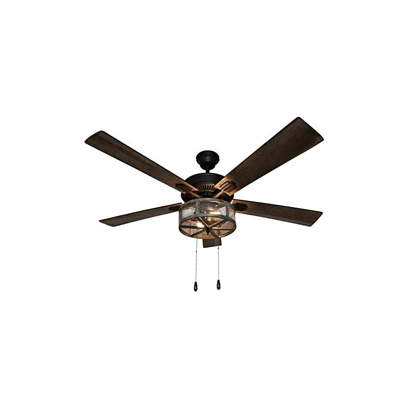 River of Goods 52 Inch Width Farmhouse LED Ceiling Fan, Brown