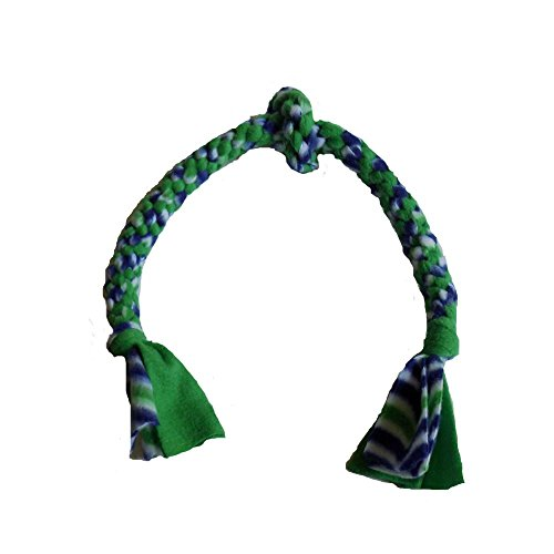 Trine, Inc. Handmade Fleece Dog Rope, Handwoven Medium Dog Tug Rope, 3-Knot Multicolor Medium Dog Pull Toy - Blue, Green, White