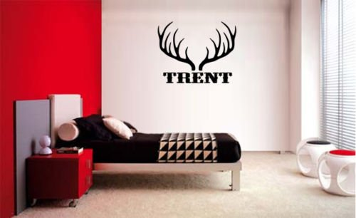 chengdar732 NAME ANTLERS HUNTING HUNT DEER ELK CAMO DECAL WALL Vinyl Sticker Wall Decal DECOR STICKER ROOM