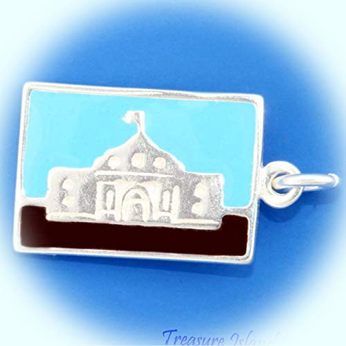 The Alamo SAN Antonio Texas Enamel Tour Postcard .925 Sterling Silver Charm Vintage Crafting Pendant Jewelry Making Supplies - DIY for Necklace Bracelet Accessories by CharmingSS