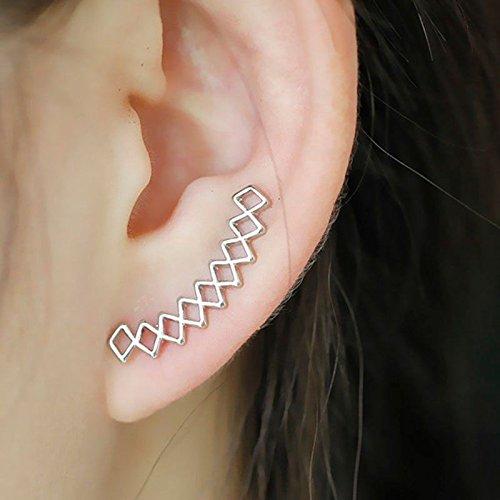 Female Climber (phitak shop Women Fashion Silver Geometirc Stud Earrings Ear Climbers Crawler Jewelry Gift)