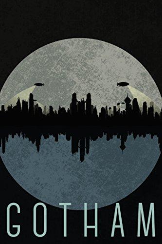 Gotham City Skyline Fantasy Travel Poster 24x36 inch
