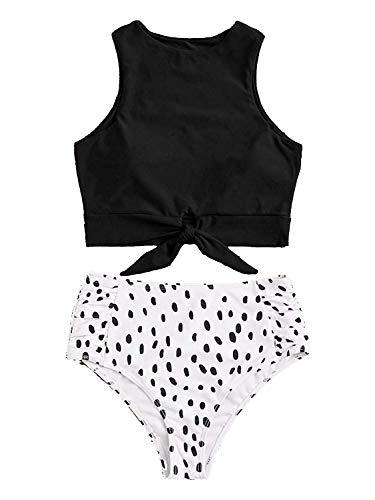 LilyCoco Women High Waisted Bikini Set Floral Printed Crop Knot Front Two Piece Swimsuit (Small, Z4-Dots Black) (High Waisted Swimsuit Bow Top)