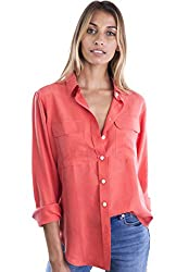Camixa Womens 100 Silk Blouses Ladies Shirt Casual Pocket Button Up Elegant Top M Coral