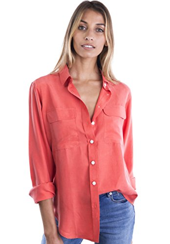 CAMIXA Womens 100% Silk Blouses Ladies Shirt Casual Pocket Button up Elegant Top M Coral (Amazon Browser Button)