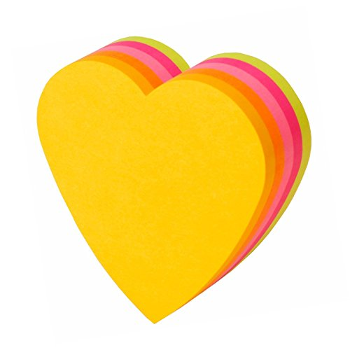 3M Post-it and sticky notes Heart 72x72mm fluorescent color five-color 225 sheets ()