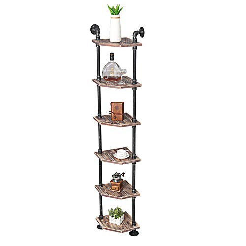 MBQQ Industrial Pipe Shelves Modern/Rustic Corner Book Shelves with Real Wood,Corner 6-Tier Bookshelf Display Stand,Metal Standing Home Decor Shelf Units