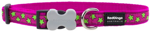Red Dingo Hot Pink with Lime Green Stars Dog Collar, Small/12mm