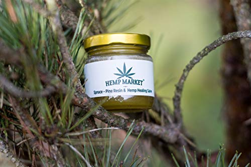 Natural Hemp Oil, Spruce & Pine Resin Salve for Healing Wounds, Ulcers, Inflammations, Respiratory Problems, Scabs, Skin Eruptions, etc. (100ml - 3.4 Oz.)