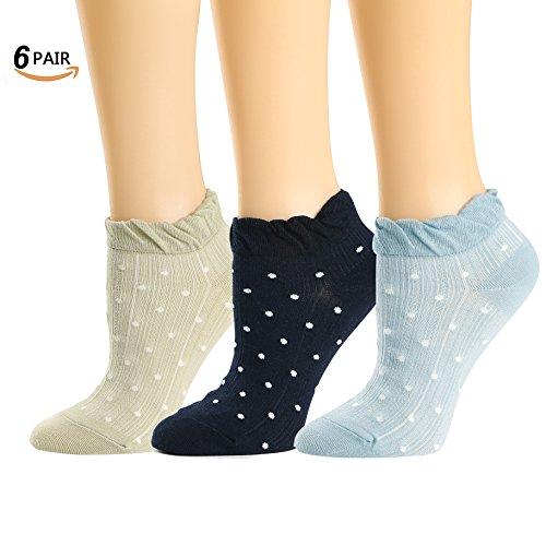 Womens Low Cut Socks Retro Mesh Cotton No Show Trim Frill Ankle Socks 6 Pack