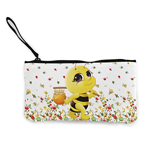Terany Canvas Pencil Case - Honey Bee Cosmetic Makeup Bag Zipper Closure Coin Purse Wallet Custom Phone Pouch with Handle for Women, Girls, Boys -