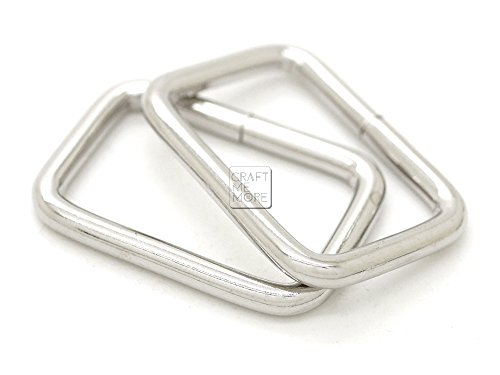 (CRAFTMEmore Metal Rectangle Buckle Ring for Bag Belt Loop Strap Heavy Duty Rectangular Cord fits Webbing 5/8