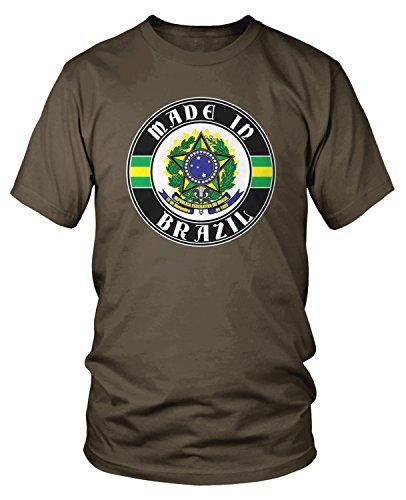 (Amdesco Men's Made in Brazil, Brazilian Coat of Arms T-Shirt, Dark Chocolate XL)