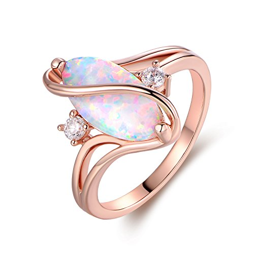 - Barzel Rose Gold & White Gold Plated White Fire Opal Created & Cubic Zirconia Accents Ring (Rose Gold Fire Opal, 8)