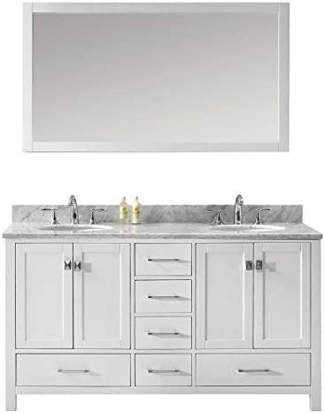 Virtu USA Caroline Avenue 60 inch Double Sink Bathroom Vanity Set in White w Round Undermount Sink, Italian Carrara White Marble Countertop, No Faucet, 1 Mirror – GD-50060-WMRO-WH