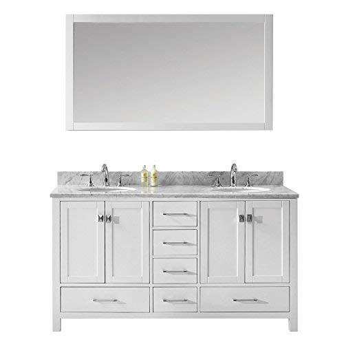 Virtu USA Caroline Avenue 60 inch Double Sink Bathroom Vanity Set in White w Round Undermount Sink, Italian Carrara White Marble Countertop, No Faucet, 1 Mirror – GD-50060-WMRO-WH