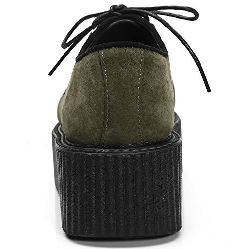 Zapatillas de YORWOR Plataformas Cuña Punk Mujer Cordones con Creepers Verde para aSq5R701w