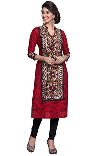 (Ishin Women's Cotton Red Printed Indian Kurta Tunic & Top)