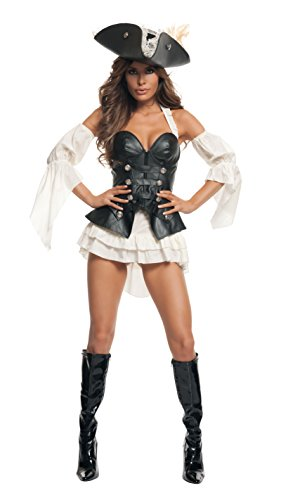 Starline Women's Black Pearl Sexy Pirate Costume Set, Black, Medium (Sexy Pirate Costume)