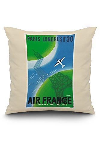 Londres Natural (Air France - Paris Londres - 1h 30 Vintage Poster (artist: Valerio) France c. 1936 (20x20 Spun Polyester Pillow, White Border))