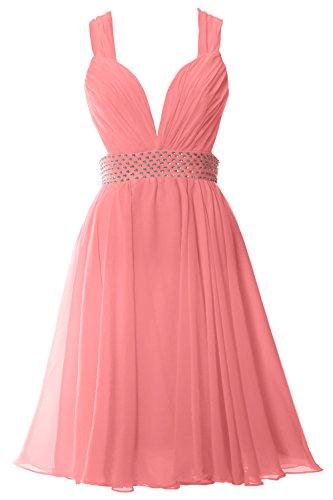 Prom Party V Straps Dress Neck Zartrosa Formal Gown Chiffon Short Women MACloth Sexy qY4ZR4