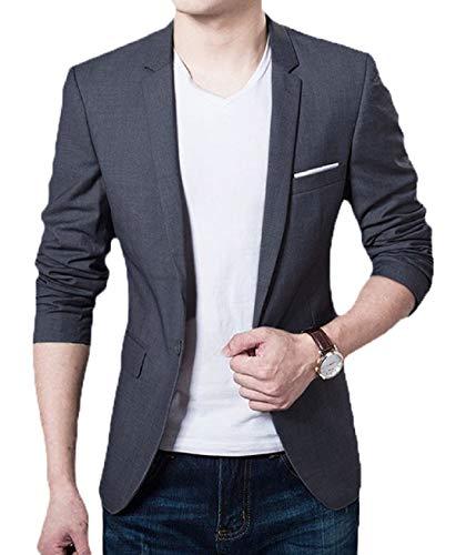 [해외]쉬에인 남성 슬림 핏 원 버튼 블레이저 수트 재킷 / XueYin Men`s Slim Fit One Button Blazer Suit Jacket