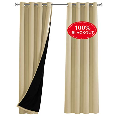Wheat Bronze Four Light - Turquoize Full Blackout Soundproof Lined Curtain for Bedroom Faux Silk Satin 100% Blackout 84 Inch Long Thermal Insulated Curtain Panels with Black Liner Grommets Top, 52 x 84 - Inches,Wheat