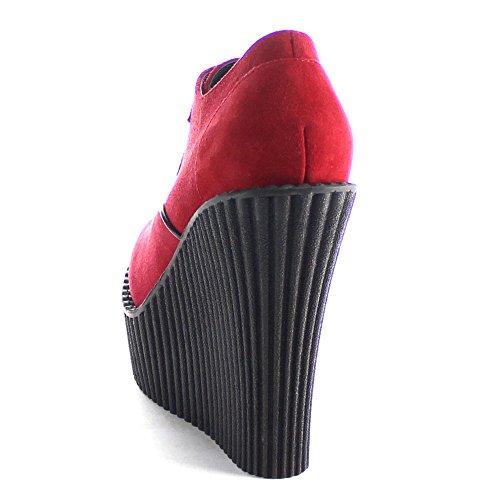 Pleaser Creeper-302 - Zapatillas Mujer Red Vegan Suede