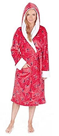 1238fe14f6 Ladies Christmas Design Super Soft Touch Hooded Dressing Gown (Small
