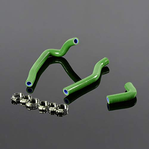Silicone Radiator Hose + Clamps Kit For Kawasaki KX65 KX 65 2000-2009 02 Green