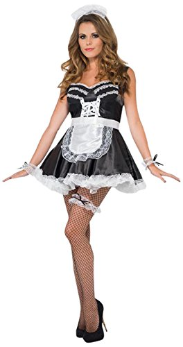 Smiffy's Women's French Maid Set, Lace Cuffs, Hat, Apron and Garter, One Size, Colour: Black and White,