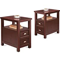 2 NEW Item Chairside Tables in Rich Espresso Cappuccino Oversized Drawer