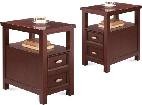 2 NEW Item Chairside Tables in Rich Espresso Cappuccino Oversized Drawer For Sale