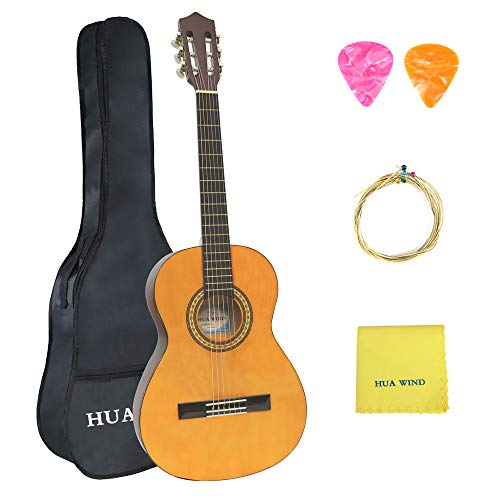 Classical Guitar Starter Pack - HUAWIND Beginner Classical Guitar 36 Inch Nylon Strings Starter Guitar Kit for Students Boy Girl with Carrying Bag Accessories, Natural Gloss