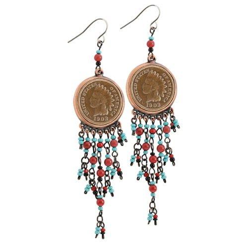 - American Coin Treasures Coppertone Indian Head Cent Chandelier Earrings